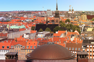 Areal view over central Copenhagen historical part