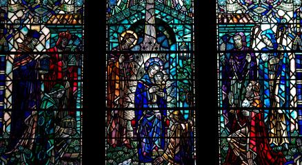 Nativity window: birth of Jesus in stained glass