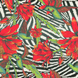 Obrazy na płótnie, fototapety, zdjęcia, fotoobrazy drukowane : Tropical Seamless vintage floral pattern