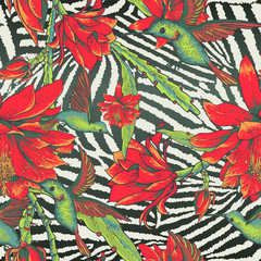 Tropical Seamless vintage floral pattern