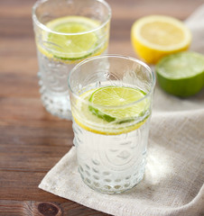 Cold water with lemon and lime