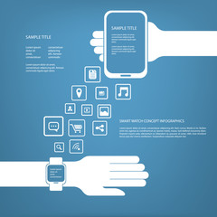 Smart watch infographics concept vector illustration