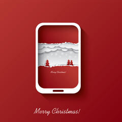 Christmas card concept design in smartphone
