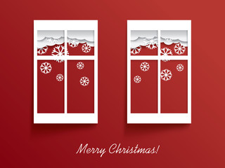 Christmas card illustration design with two windows and snow