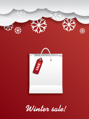 Winter sale shopping bag with sticker and space for text