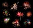 Beautiful firework set on black background. large resolution
