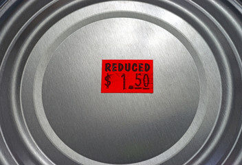 Tin can of reduced priced food