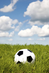 soccer ball in a grass field