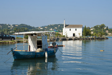 Church in boat in Gouvia, Corfu