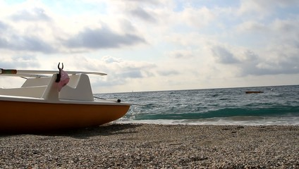 rowboat on the shore