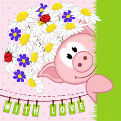 pig with flowers love  - vector  illustration, eps