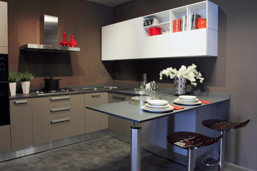 Stylish modern kitchen white and grey