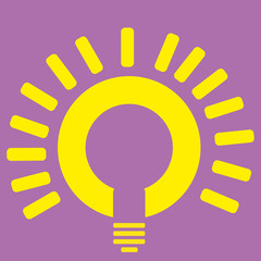 a yellow lightbulb in a purple background
