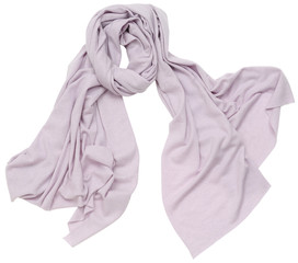 Lilac scarf on white background