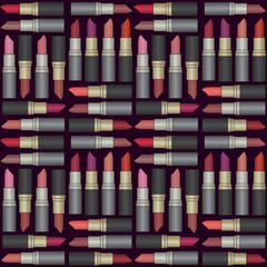 Vector seamless pattern background with colorful lipsticks