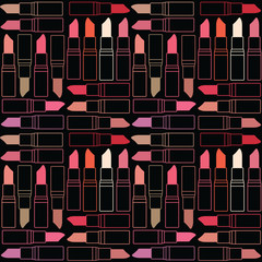 Vector seamless pattern background with lipsticks