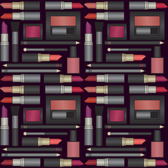 Vector seamless pattern background with makeup objects 1