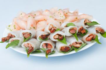 Shrimp and grilled pork in glutinous tapioca flour dumpling, ban