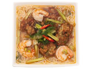 Bun Tom Cha Muc,  rice vermicelli soup, served with shrimp broth