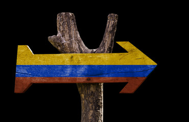 Colombia wooden sign isolated on black background