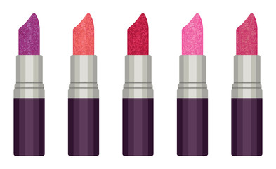Glitter lipsticks vector set