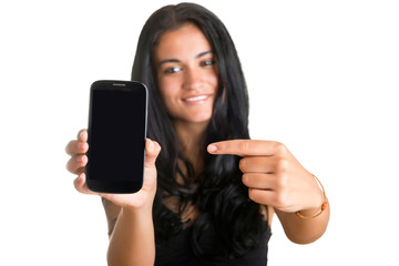 Woman Pointing at a Mobile Phone
