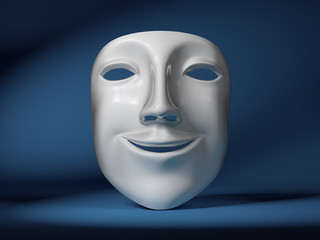 Smiling mask on scene.