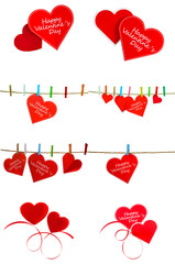 Collection of Cute red heart hanging on the clothesline