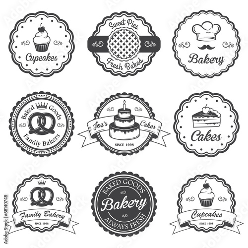 Set of vintage black and white bakery emblems, labels and design - 68140748
