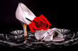 canvas print picture - Female Shoe and rose