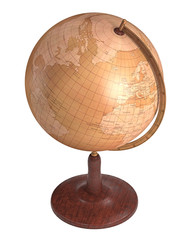 Antique Globe Over White. Clipping path included.