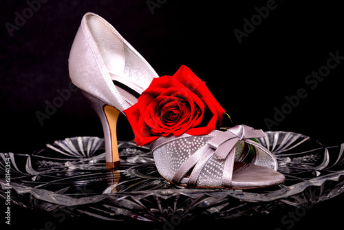 canvas print picture Female Shoe and rose
