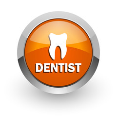 dentist orange glossy web icon