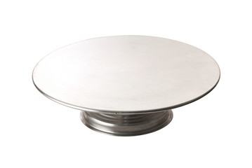 metal dessert tray on white background