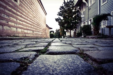 ancient cobblestone street