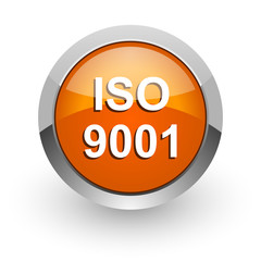 iso 9001 orange glossy web icon
