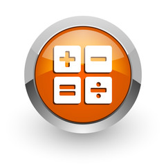 calculator orange glossy web icon
