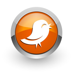 twitter orange glossy web icon