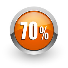 70 percent orange glossy web icon
