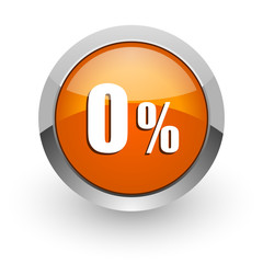 0 percent orange glossy web icon