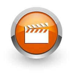 video orange glossy web icon