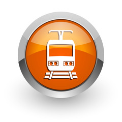 train orange glossy web icon