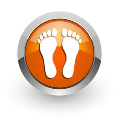 foot orange glossy web icon