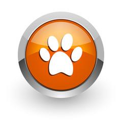 foot orange glossy web icon