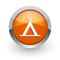 camp orange glossy web icon