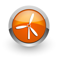 windmill orange glossy web icon