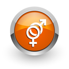 sex orange glossy web icon