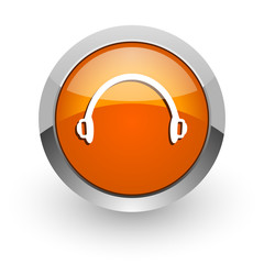 headphones orange glossy web icon