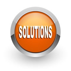 solutions orange glossy web icon