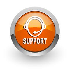 support orange glossy web icon